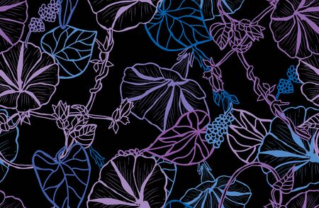 Elegant seamless pattern with morning glory flowers, design elements. Floral  pattern for invitations, cards, print, gift wrap, manufacturing, textile, fabric, wallpapers Vettoriali