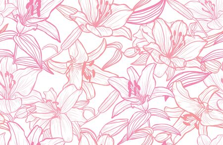 Elegant seamless pattern with lily flowers, design elements. Floral  pattern for invitations, cards, print, gift wrap, manufacturing, textile, fabric, wallpapers Ilustracja