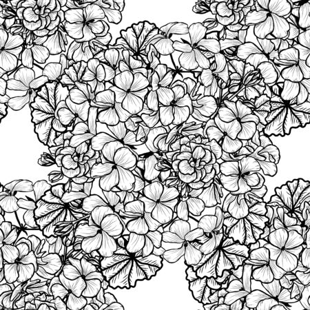 Elegant seamless pattern with geranium flowers, design elements. Floral pattern for invitations, cards, print, gift wrap, manufacturing, textile, fabric, wallpapers
