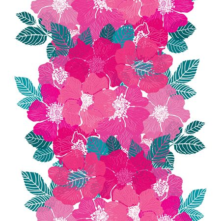 Elegant seamless pattern with dog rose flowers, design elements. Floral pattern for invitations, cards, print, gift wrap, manufacturing, textile, fabric, wallpapers