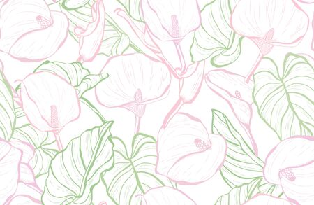 Elegant seamless pattern with calla lily flowers, design elements. Floral  pattern for invitations, cards, print, gift wrap, manufacturing, textile, fabric, wallpapers