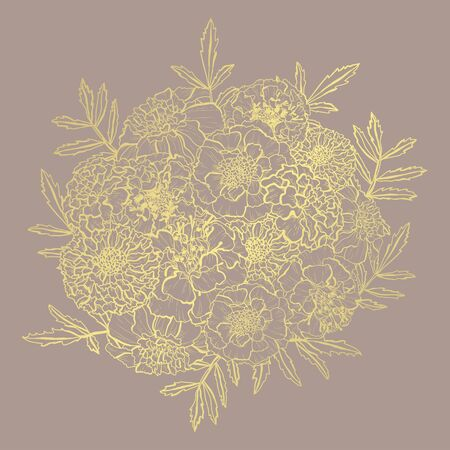 Decorative abstract golden marigold flowers, design elements. Can be used for cards, invitations, banners, posters, print design. Golden floral  background in line art style