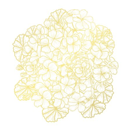 Decorative abstract golden geranium flowers, design elements. Can be used for cards, invitations, banners, posters, print design. Golden floral  background in line art style