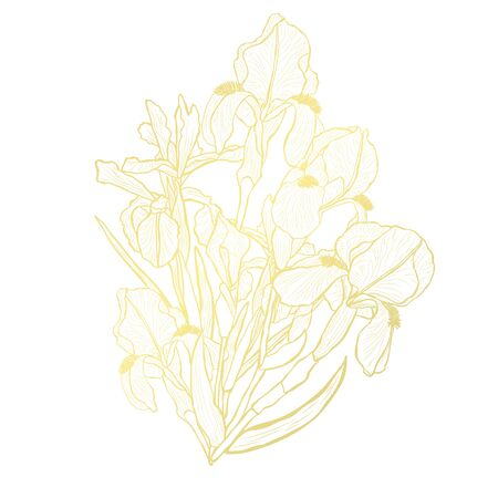 Decorative abstract golden iris flowers, design elements. Can be used for cards, invitations, banners, posters, print design. Golden floral background in line art style Vetores