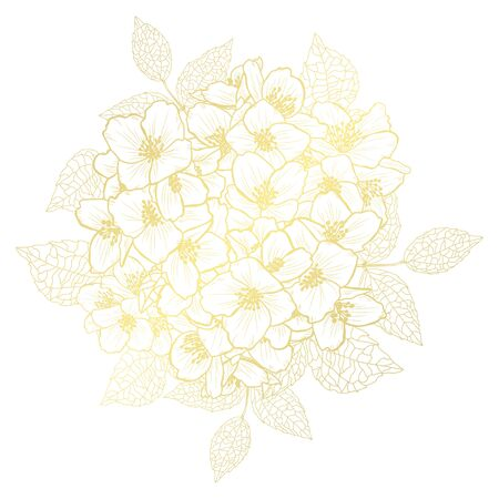 Decorative abstract golden jasmine flowers, design elements. Can be used for cards, invitations, banners, posters, print design. Golden floral  background in line art style Illustration