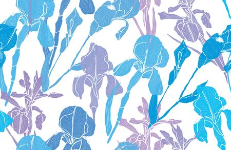 Elegant seamless pattern with iris flowers, design elements. Floral  pattern for invitations, cards, print, gift wrap, manufacturing, textile, fabric, wallpapers