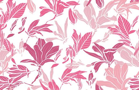 Elegant seamless pattern with magnolia flowers, design elements. Floral  pattern for invitations, cards, print, gift wrap, manufacturing, textile, fabric, wallpapers