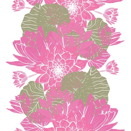 Elegant seamless pattern with lotus flowers, design elements. Floral  pattern for invitations, cards, print, gift wrap, manufacturing, textile, fabric, wallpapers Archivio Fotografico - 137831567
