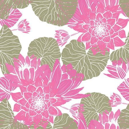 Elegant seamless pattern with lotus flowers, design elements. Floral  pattern for invitations, cards, print, gift wrap, manufacturing, textile, fabric, wallpapers Archivio Fotografico - 137831572