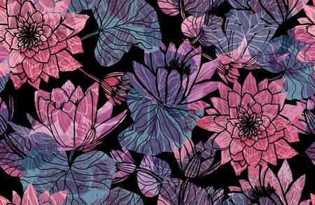 Elegant seamless pattern with lotus flowers, design elements. Floral  pattern for invitations, cards, print, gift wrap, manufacturing, textile, fabric, wallpapers Archivio Fotografico - 137831576