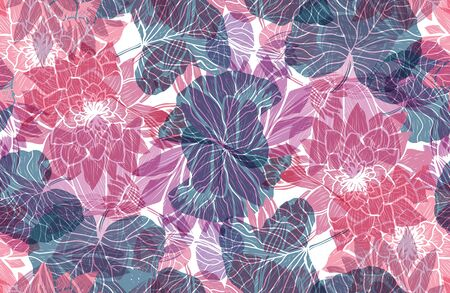 Elegant seamless pattern with lotus flowers, design elements. Floral  pattern for invitations, cards, print, gift wrap, manufacturing, textile, fabric, wallpapers Ilustrace