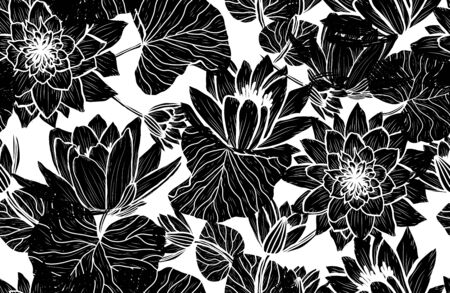 Elegant seamless pattern with lotus flowers, design elements. Floral  pattern for invitations, cards, print, gift wrap, manufacturing, textile, fabric, wallpapers Archivio Fotografico - 137831579