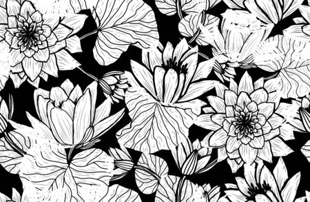 Elegant seamless pattern with lotus flowers, design elements. Floral  pattern for invitations, cards, print, gift wrap, manufacturing, textile, fabric, wallpapers Archivio Fotografico - 137831580
