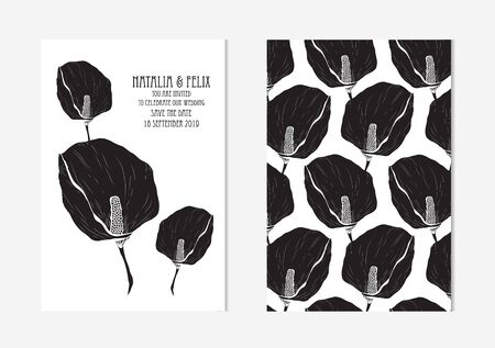 Elegant cards with decorative calla flowers, design elements. Vintage decorative flowers