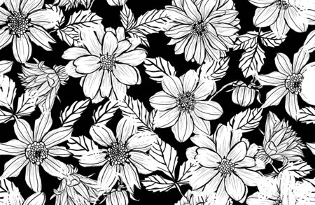 Elegant seamless pattern with dahlia flowers, design elements. Floral  pattern for invitations, cards, print, gift wrap, manufacturing, textile, fabric, wallpapers Иллюстрация
