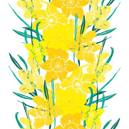 Elegant seamless pattern with daffodil flowers, design elements. Floral  pattern for invitations, cards, print, gift wrap, manufacturing, textile, fabric, wallpapers