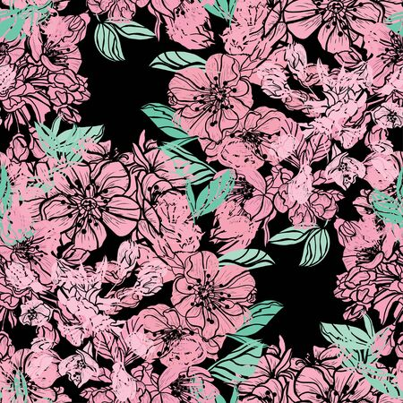Elegant seamless pattern with sakura flowers, design elements. Floral  pattern for invitations, cards, print, gift wrap, manufacturing, textile, fabric, wallpapers