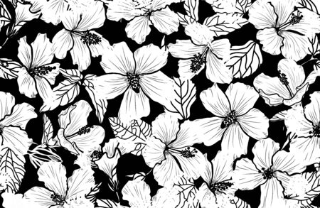 Elegant seamless pattern with hibiscus flowers, design elements. Floral  pattern for invitations, cards, print, gift wrap, manufacturing, textile, fabric, wallpapers Иллюстрация
