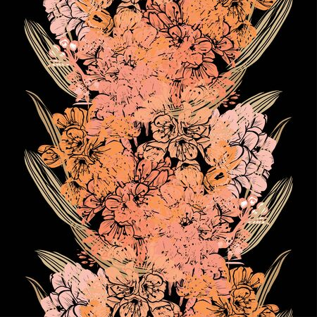 Elegant seamless pattern with clivia flowers, design elements. Floral  pattern for invitations, cards, print, gift wrap, manufacturing, textile, fabric, wallpapers Иллюстрация