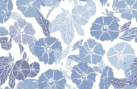 Elegant seamless pattern with clematis flowers, design elements. Floral  pattern for invitations, cards, print, gift wrap, manufacturing, textile, fabric, wallpapers Иллюстрация