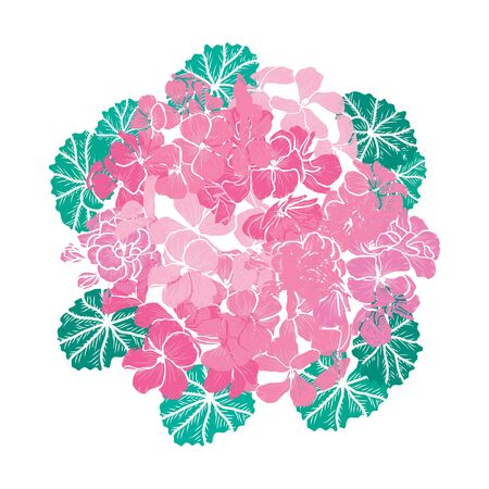 Decorative hand drawn geranium flowers, design elements. Can be used for cards, invitations, banners, posters, print design. Floral background in line art style Archivio Fotografico - 138202064