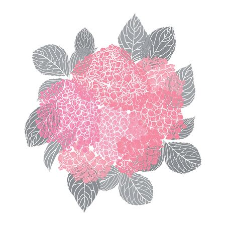 Decorative hand drawn hydrangea flowers, design elements. Can be used for cards, invitations, banners, posters, print design. Floral background in line art style Archivio Fotografico - 138201528