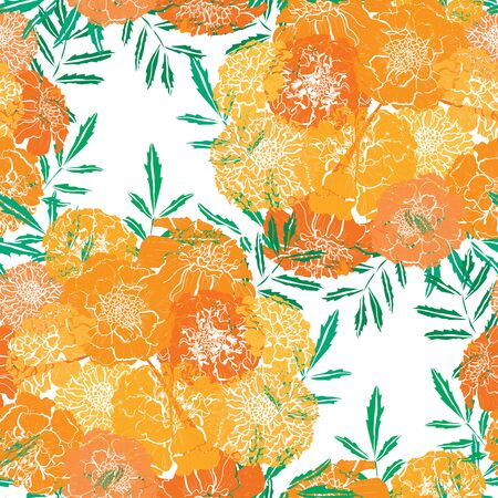 Elegant seamless pattern with marigold flowers, design elements. Floral  pattern for invitations, cards, print, gift wrap, manufacturing, textile, fabric, wallpapers