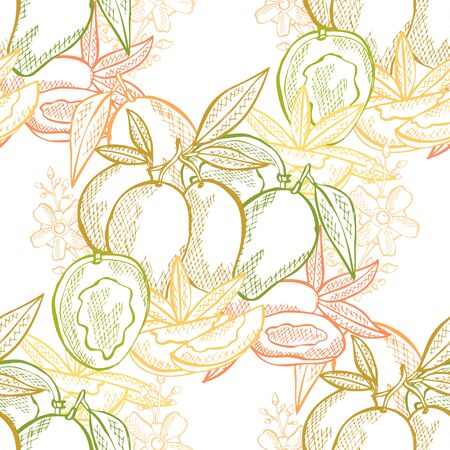 Elegant seamless pattern with mango fruits, design elements. Fruit pattern for invitations, cards, print, gift wrap, manufacturing, textile, fabric, wallpapers. Food, kitchen, vegetarian theme