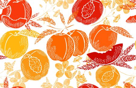 Elegant seamless pattern with peach fruits, design elements. Fruit pattern for invitations, cards, print, gift wrap, manufacturing, textile, fabric, wallpapers. Food, kitchen, vegetarian theme Vector Illustratie