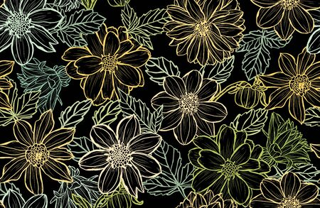 Elegant seamless pattern with dahlia flowers, design elements. Floral  pattern for invitations, cards, print, gift wrap, manufacturing, textile, fabric, wallpapers Ilustrace