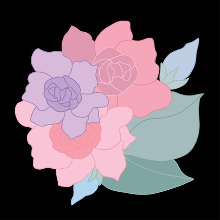 Decorative abstract gardenia flowers, design elements. Can be used for cards, invitations, banners, posters, print design. Floral background in line art style Illustration