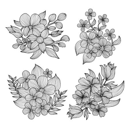 Decorative abstract flowers set, design elements. Can be used for cards, invitations, banners, posters, print design. Floral background in line art style Ilustração Vetorial