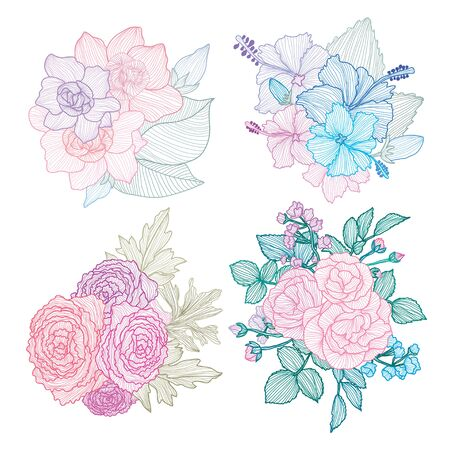 Decorative abstract  flowers set, design elements. Can be used for cards, invitations, banners, posters, print design. Floral background in line art style