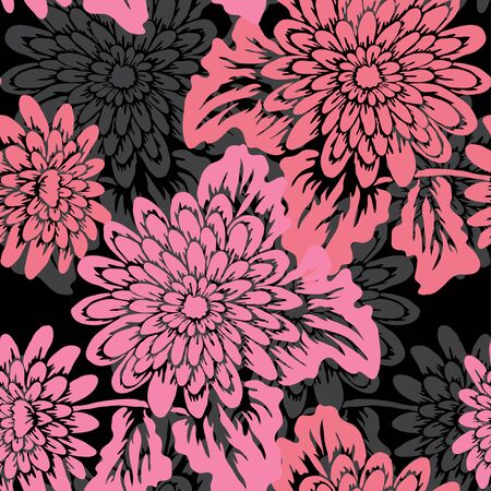Elegant seamless pattern with gerbera flowers, design elements. Floral pattern for invitations, cards, print, gift wrap, manufacturing, textile, fabric, wallpapers
