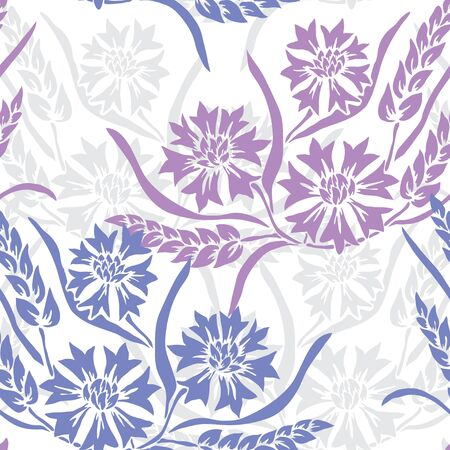 Elegant seamless pattern with cornflowers and wheat, design elements. Floral pattern for invitations, cards, print, gift wrap, manufacturing, textile, fabric, wallpapers