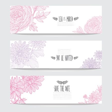 Elegant cards with decorative flowers, design elements. Can be used for wedding, baby shower, mothers day, valentines day, birthday cards, invitations, greetings. Vintage decorative flowers. Ilustração
