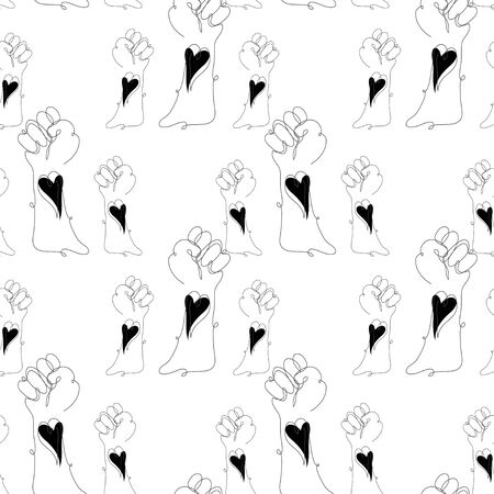 Black lives matter. Seamless pattern with protesting hands, design element.Can be used for banners, cards, print, gift wrap, manufacturing, textile, fabric, wallpapers. Continuous line art style