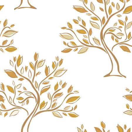 Elegant seamless pattern with hand drawn trees