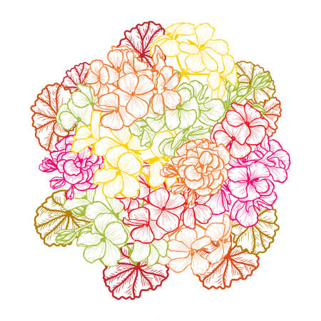 Decorative abstract geranium flowers, design elements. Can be used for cards, invitations, banners, posters, print design. Floral background in line art style