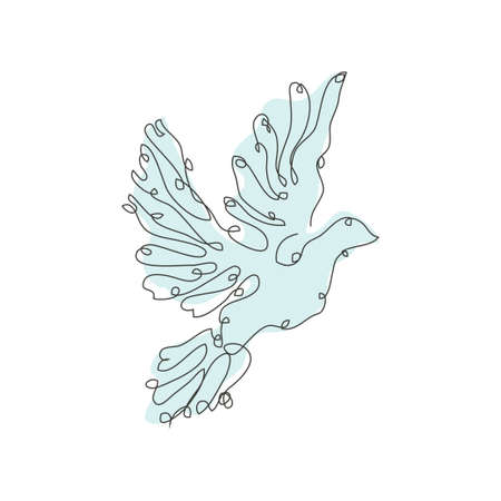 Decorative hand drawn dove, design element. Can be used for cards, invitations, banners, posters, print design. Continuous line art style. Bird theme
