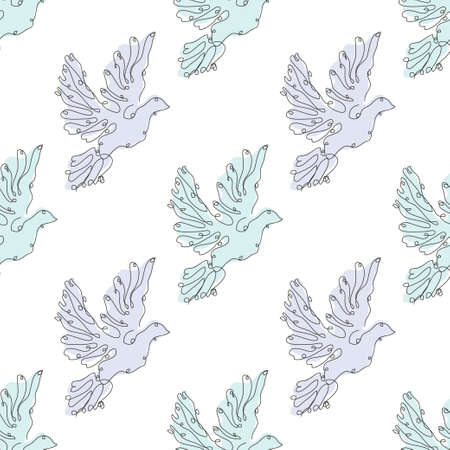 Elegant seamless pattern with doves, design elements. Bird pattern for invitations, cards, print, gift wrap, manufacturing, textile, fabric, wallpapers. Continuous line art style