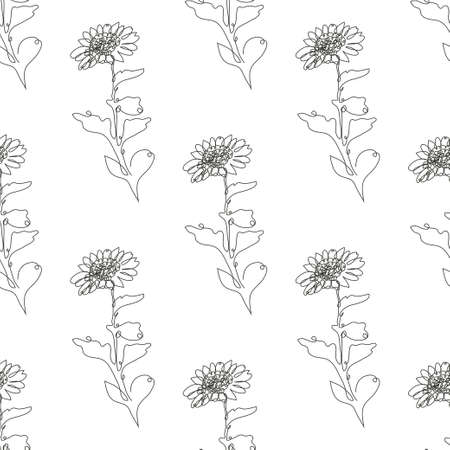 Elegant seamless pattern with chrysanthemum flowers, design elements. Floral  pattern for invitations, cards, print, gift wrap, manufacturing, textile, fabric, wallpapers. Continuous line art style Иллюстрация