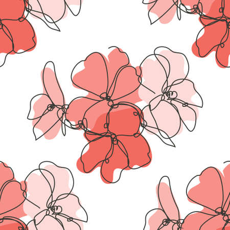 Elegant seamless pattern with geranium flowers, design elements. Floral  pattern for invitations, cards, print, gift wrap, manufacturing, textile, fabric, wallpapers. Continuous line art style 일러스트
