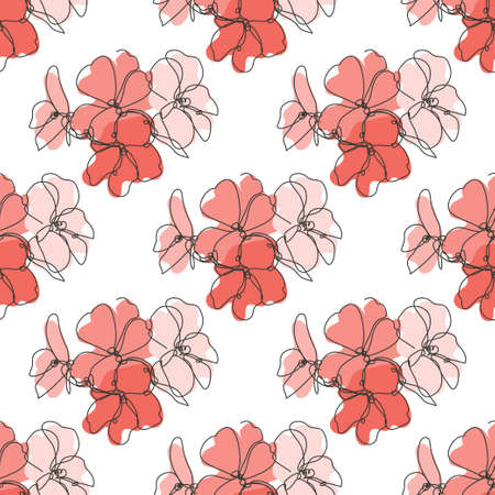 Elegant seamless pattern with geranium flowers, design elements. Floral  pattern for invitations, cards, print, gift wrap, manufacturing, textile, fabric, wallpapers. Continuous line art style Иллюстрация
