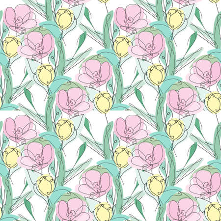 Elegant seamless pattern with tulip flowers, design elements. Floral pattern for invitations, cards, print, gift wrap, manufacturing, textile, fabric, wallpapers. Continuous line art style