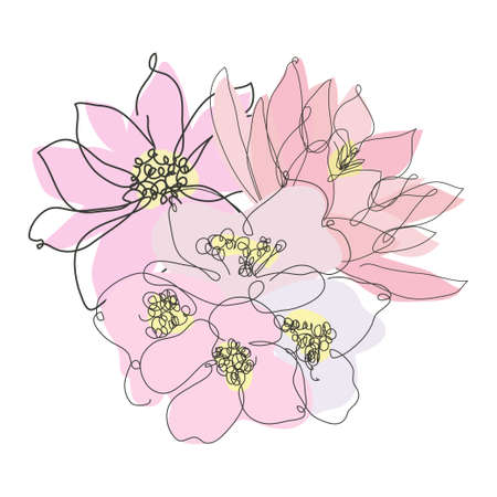 Decorative hand drawn lotus, anemone and jasmine, design elements. Can be used for cards, invitations, banners, posters, print design. Continuous line art style Ilustração Vetorial