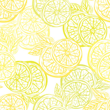 Elegant seamless pattern with lemon fruits, design elements. Fruit pattern for invitations, cards, print, gift wrap, manufacturing, textile, fabric, wallpapers. Food, kitchen, vegetarian theme Vector Illustratie