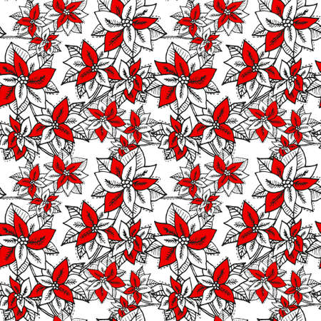 Winter seamless pattern with poinsettia, design elements. Christmas pattern for invitations, cards, print, gift wrap, manufacturing, textile, fabric, wallpapers. New Year theme