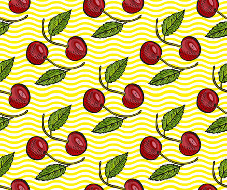 Elegant seamless pattern with cherry fruits, design elements. Fruit pattern for invitations, cards, print, gift wrap, manufacturing, textile, fabric, wallpapers. Food, kitchen, vegetarian theme