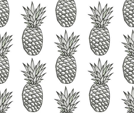 Elegant seamless pattern with pineapples, design elements. Fruit pattern for invitations, cards, print, gift wrap, manufacturing, textile, fabric, wallpapers. Food, kitchen, vegetarian theme Ilustración de vector